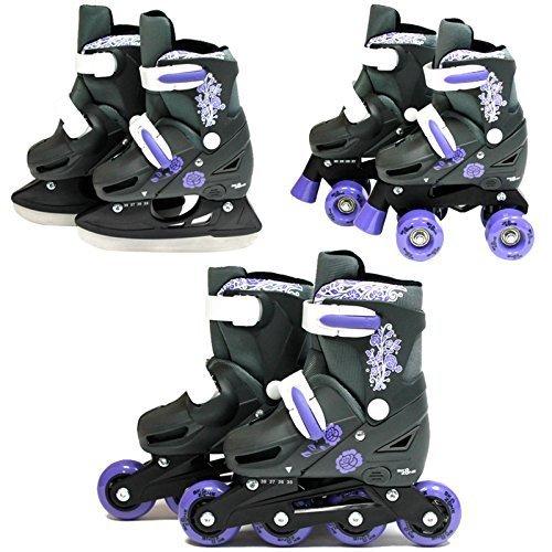 SK8 Zone Mädchen Violett 3in1 Roller Klingen Inline Rollschuhe Verstellbare Größe Kinder Pro Kombo Multi Eislaufen Stiefel Neu - Small 9-12 (27-30 EU) Mädchen Einstellbare Rollschuhe