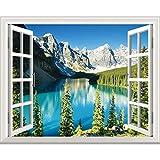 Adesivi Murali Tridimensionali Calde Autoadesive Camera Da Letto Decorazioni Per Soggiorno Adesivi Per Finestrini, Lago Di Montagna, Extra Large