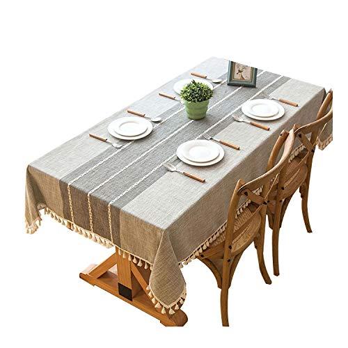 CHUNXU Plaid Dekorative Leinen-Tischdecke mit Quaste, wasserfest, öldicht, rechteckig, für Hochzeit, Esstisch, Tischdecke, Synthetisch, grau, 140x140cm Plaid Overlay