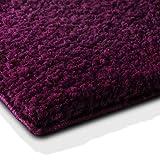 casa pura Badematte | kuscheliger Hochflor | Rutschfester Badvorleger | viele Größen | zum Set kombinierbar | Öko-Tex 100 Zertifiziert | 80x150 cm | Purple Violet/Bordeaux