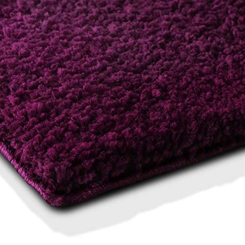 casa pura Badematte | kuscheliger Hochflor | Rutschfester Badvorleger | viele Größen | zum Set kombinierbar | Öko-Tex 100 Zertifiziert | 60x50 cm | Purple Violet/Bordeaux