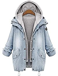 Angelwing Donna Casual Giacca Denim Giacche di Jeans Tasche Reali 2 in 1  Hoodie Cappotto con 1a0205c03bd