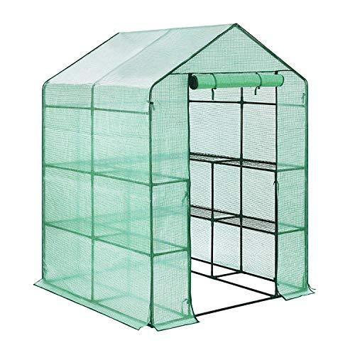FOBUY Gewächshaus aus aus Polyethylen, kompakt, mit 6 Einlegeböden, verstärkter Abdeckung, 143 x 143 x 193 cm