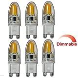 Best to buy®–Juego de 6G9mini LED COB 3W regulable a + + Blanco Cálido de silicona 360° grados Bombilla de bajo consumo bombilla lámpara foco bombilla halógena Recambio para halógeno