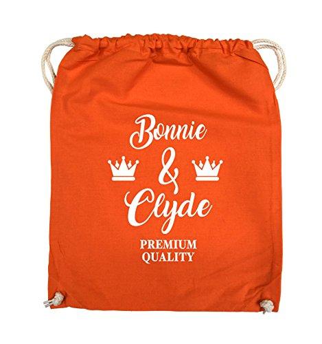 Comedy Bags - Bonnie & Clyde - PREMIUM MOTIV - Turnbeutel - 37x46cm - Farbe: Schwarz / Silber Orange / Weiss