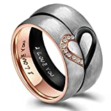 AnazoZ 6MM His & Hers For Real Love I Love You Heart Promise Ring Stainless Steel Couples Wedding Engagement Bands