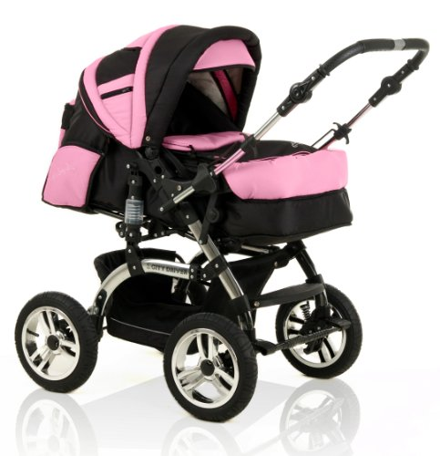 15 teiliges Qualitäts-Kinderwagenset 2 in 1 CITY DRIVER: Kinderwagen + Buggy - all inclusive Paket in 38 tollen Farben