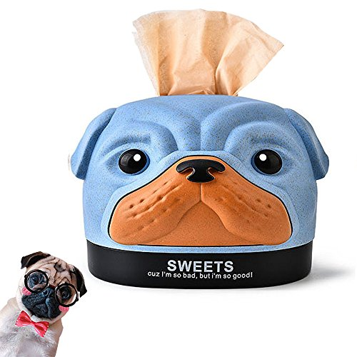 Abs Top (STAR-TOP Cute Cartoon ABS Hund - Geformte Papier Tissue Box Spender Fall Serviettenhalter Home Office Dekoration Auto Zubehör Farben Dog-Blue)
