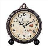 Japace® 5' sveglia vintage silenziosa da comodino orologi da tavolo antica analogica, senza ticchettio - camelia