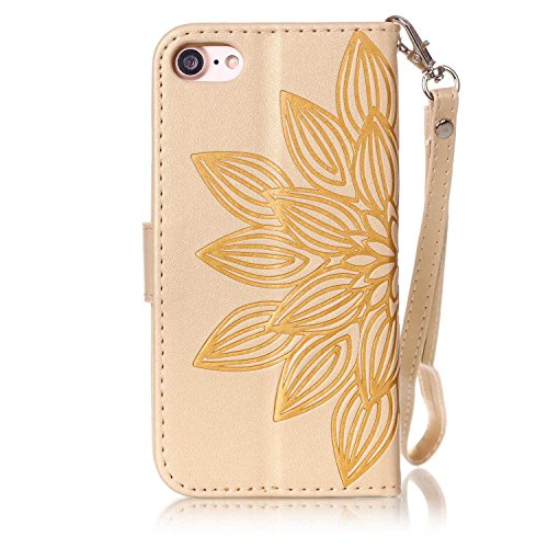 """MOONCASE iPhone 7 Coque, Bling Crystal Diamond Gaufrage Motif Portefeuille Housse en PU Cuir Étui de Protection Case pour iPhone 7 (4.7"""") (Fleur Or) Fleur Or"""