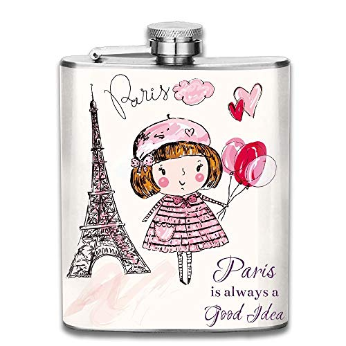 Sdltkhy Paris A Little Girl Holding Balloons Hearts A Cloud and Eiffel Tower Gift for Men 304 Stainless Steel Flask 7oz