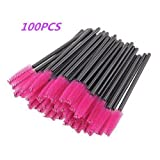 G2PLUS 100 PCS Eyelash Brushes Mascara Wands Disposable Eyebrow Castor Oil Brush Makeup Tool (Pink)
