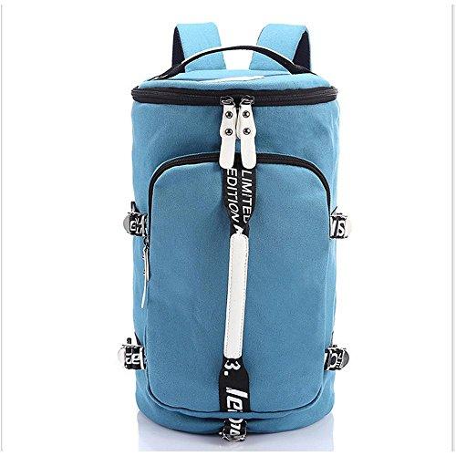Spalla di viaggio sacchetto esterno della tela di canapa di grande capienza Shoulder Bag Borsa per computer Casual , coffee Blue