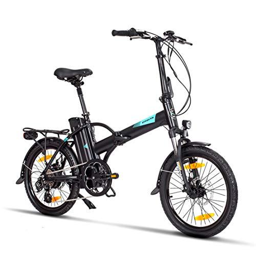 Fitifito FD20 Plus Elektrofahrrad Faltrad Klapprad E-Bike Pedelec, 36V 250W Heckmotor, 36V 15.6Ah 561W Samsung Cells Lithium-Ionen USB, 6061 Aluminium Rahmen (schwarz)