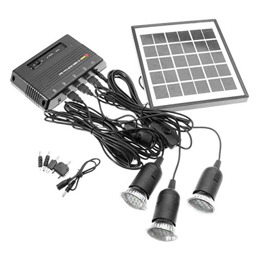 4W 6V Outdoor Solar Power Panel LED Licht Lampe Ladegerät Hausgarten System Kit - Schwarz -