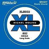 D'Addario Corde seule avec filet en nickel pour basse D'Addario XLB032, corde longue, .032