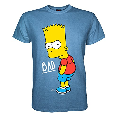 King of Merch - Herren Bio T-Shirt - Bart Simpson Bad Boy Simpsons Homer Marge Mr. Burns Matt Groening Smithers Springfield Duff Beer Donut Maggie Lisa Ned Flanders APU Krusty Milhouse Blau M