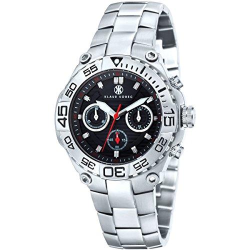 Klaus Kobec KK-20001-01 Mens Challenger Black Steel Chronograph Watch