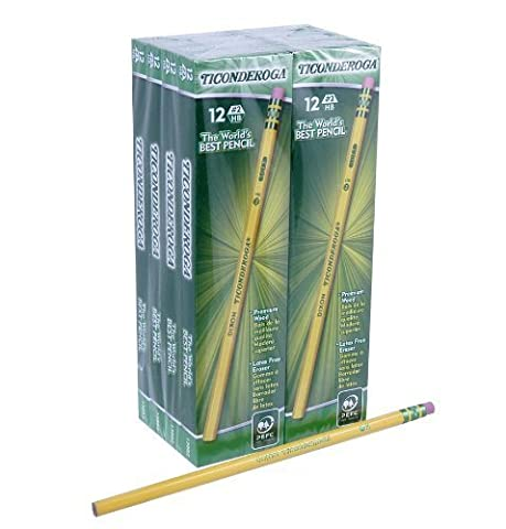 Dixon Ticonderoga Wood-Cased Pencils, #2 HB, Yellow, Box of 96 (13882) by Dixon Ticonderoga (English Manual)