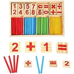Zerodis Jouet de Calcul Mathematique Bébé Jouet Educatif En Bois Stick Baton Chiffres Mathematique Education Maternelle Jouet Éducatif Pour Enfants Nombre Comptage Apprentissage