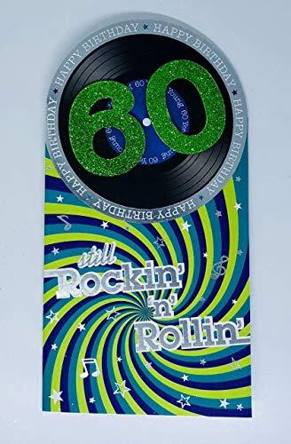 Geburtstagskarte zum 60. Geburtstag, Motiv: Rock and Roll, Vinyl, für Herren, 3D-Glitzerfolie, geprägt, mit Vers