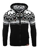 Reslad Uomo Maglia Grossa norweger Pullover Inverno Maglione con Cappuccio Pullover RS 3104 Nero-Bianco X-Large