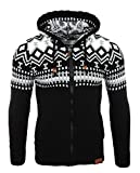 Reslad Herren Grobstrick Norweger Pullover Winter Strickjacke Kapuzenpullover RS-3104 (M, Schwarz-Weiß)