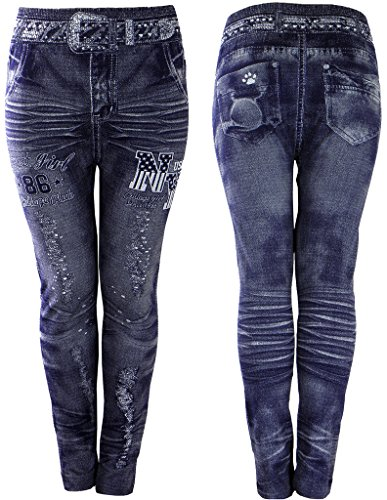 Girls Leggings - Jeans Printed Stretchy Fabric Jeggings Kids Clothes Ages 4-14yr