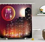 JIEKEIO Modern Shower Curtain, Big City Theme Urban Skyline Night Lights Full Moon Stars and Skyscrapers Image, Fabric Bathroom Decor Set with Hooks, 60W X 72L Inches, Multicolor