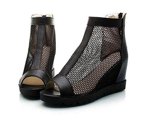 SHIXR Femmes Pompes Mesh Sandales à talons hauts talon de l'Ouest Peep Toe Roman Chaussures Side Zipper Platform Chaussures Noir Blanc Black