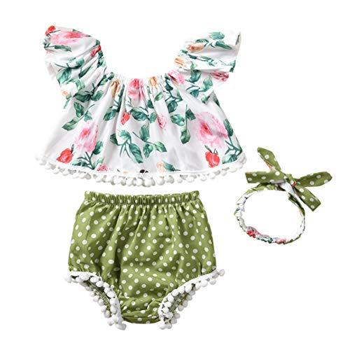 Baby Mädchen Kleidung Set Quaste Design Floral Shirt Top + Dot gedruckt Bloomers PP Shorts + Stirnband 3 Stück Outfit -