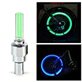 #2: Spider Juice, Popular Universal Tyre Wheel Valve Cap Motion Detection Sensor LED Light for Motorcycle, Bicycle, Scooters, Cars etc (Green Filament Emits Blue Color, Pack of 2 with Valve Adapters), Wheel Valve Cap Light