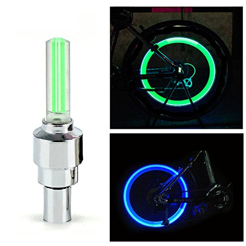 Spider Juice, Popular Universal Tyre Wheel Valve Cap Motion Detection Sensor LED Light for Motorcycle, Bicycle, Scooters, Cars etc (Green Filament Emits Blue Color, Pack of 2 with Valve Adapters), Wheel Valve Cap Light  available at amazon for Rs.120