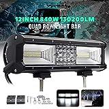Beaums Quad Row 12inch 840W 68LED Light Work Spot Bar Flood Combo conduite Lampes de travail Waterproof LED 6000K pour véhicule SUV Offroad