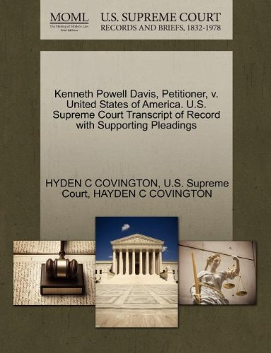 Kenneth Powell Davis, Petitioner, V. United States of America. U.S. Supreme Court Transcript of Record with Supporting Pleadings Image