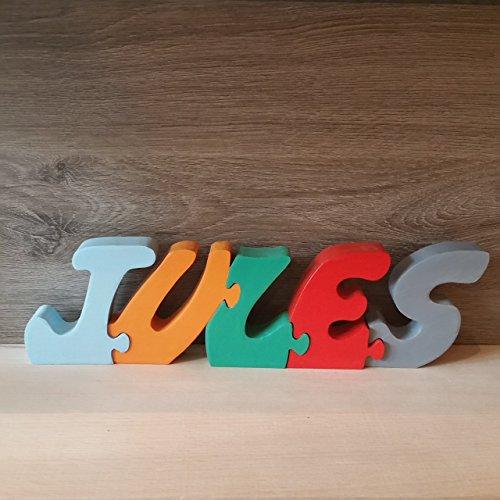 Prénom lettres puzzle Jules en bois, fabriqué à la main.