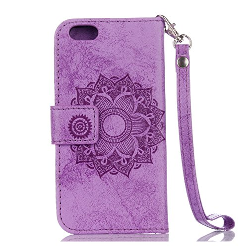 Für IPhone 6 & 6s Fall, Mandala Blume geprägtes Muster Schutzhülle Premium PU Leder Folio Flip Stand Brieftasche Case Beutel mit Lanyard & Halter & Card Cash Slots ( Color : Gold ) Purple