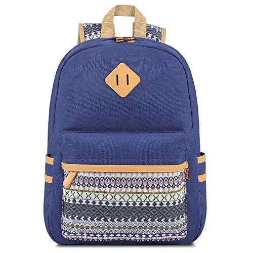 Plambag - Sac à dos en toile Sac d'école Sac porté épaule - Pour Voyages, scolaire, loisirs -Cartable en toile