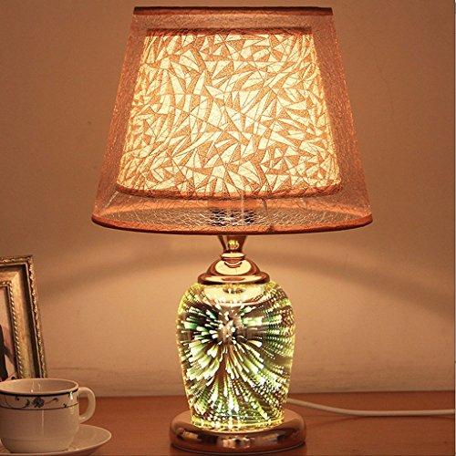 XUANLAN 3D dreidimensionale Feuerwerk Lampe, LED-Glas Nachttischlampe, Schlafzimmer Nachttisch Wohnzimmer dekorative Tischlampe - Glas Base Stehleuchte