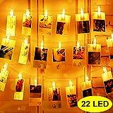 LED Fotoclips Lichterkette, Mr.Twinklelight® Lichterketten USB/Batteriebetrieben 2.2M 22 LED Lichterketten 8 Modi, Deko für Wohnzimmer, Weihnachten, Hochzeiten, Party (Warmweiß) -