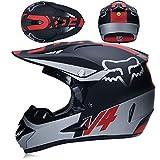 GWJ Adulte Hors Route Casque Dot Dirt Bike Motocross VTT Moto Tout-Terrain/Lunettes/Masque/Gants XL,Matteblacksilver,M