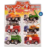 Kids Unbreakable ABS Plastic Friction Powered Construction Vehicle Automobile Toy Set (Multicolour) - Pack Of 6