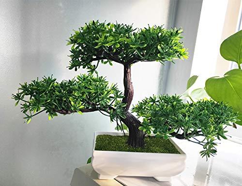 zhd Künstliche Blumen Bonsai Kunstpflanze, Bonsai-Baum für Büro/Zuhause Dekoration (Grün)