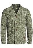 !Solid Philotus Herren Strickjacke Cardigan Grobstrick mit V-Ausschnitt samt Knopfleiste aus 100% Baumwolle Meliert, Größe:XL, Farbe:Ivy Green (3797)