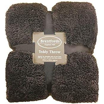 brentfords teddy fleece throw chocolate 200 x 200 cm 100. Black Bedroom Furniture Sets. Home Design Ideas
