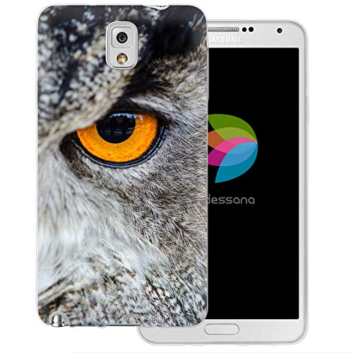 dessana Eule Uhu transparente Schutzhülle Handy Case Cover Tasche für Samsung Galaxy Note 3 Eule Auge (Eule Handy Cover Für Note 3)