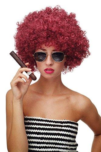 WIG ME UP ® - PW0011-P67 Perücke Afroperücke Afro 70er Jahre Party Partyperücke Funk Funky Disco Foxy Granatrot