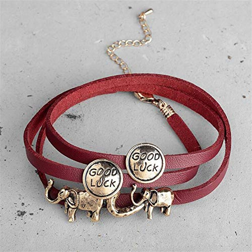 UPPPP Böhmen Doppelschicht Lederarmbänder Für Frauen Vintage Zink-Legierung Charme Elefant Armband Viel Glück Anhänger Modeschmuck