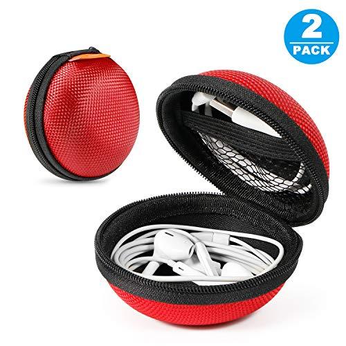[Set von 2] Tragbare Schutzhüllen aus Eva, Clamshell-Mesh-Stil, Reißverschluss, Innentasche, langlebig, mit Kabel/Bluetooth-Headset, Ohrhörertasche, leicht, Geldbörse, kleine Handtasche (Bluetooth-headset Glcon)