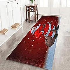 Idea Regalo - Bolange Tappetino Antiscivolo in Flanella, 60 * 180cm Babbo Natale Tappeto casa Vacanza Decorazione
